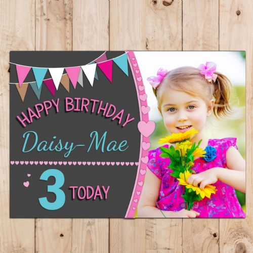 Personalised Girls Hearts & Bunting Happy Birthday Party PHOTO Banner Poster N107
